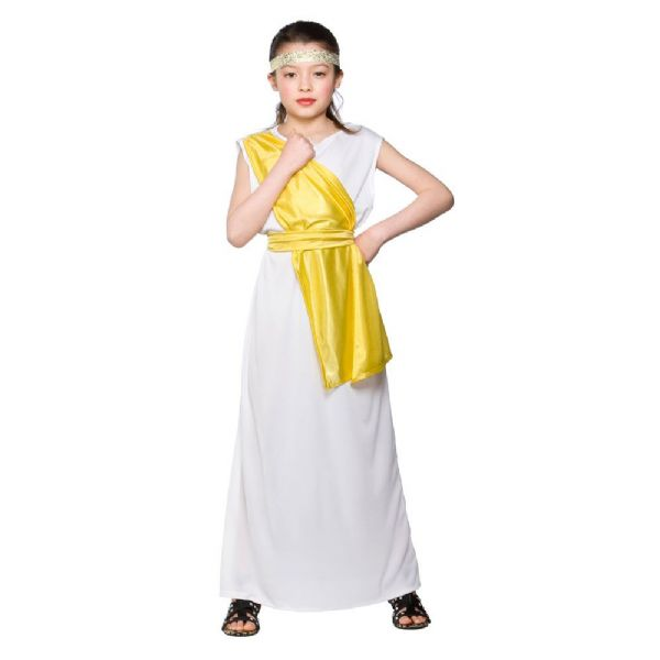 Childrens Girls Greek Girl Costume for Ancient Greecian Roman Latin Fancy Dress